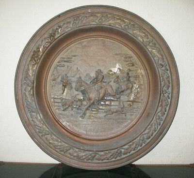 Vintage Metal Tray Horse Hounds Hunting Oak Leaves Acorn Wall Hanging 22""