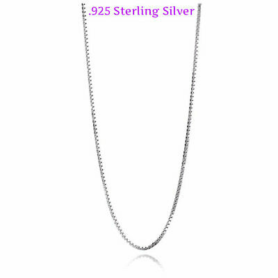 925 Solid Sterling Silver .8mm Thin Box Chain Necklace for Pendants 18 Inches