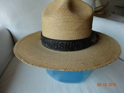 USNPS US National Park Service Stratton Straw Summer Hat W/Leather Band 6 3/4