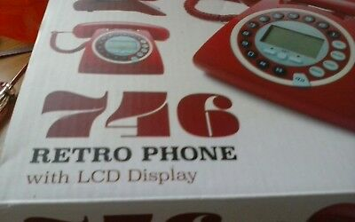 New 746 Retro  GPO  Vintage Style Work / Home Phone With Caller ID- Red