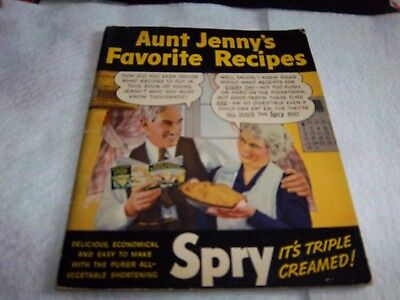 Vintage Aunt Jenny's Favorite Recipes  Spry Shortening