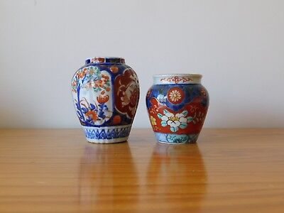 c.19th - Antique Japanese Japan Arita Imari Porcelain Pot x2
