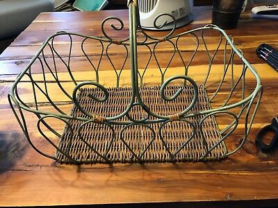 """Large Antique Wire Primitive Shopping/Egg Basket - Very Early 10 1/2 by 14 by 5"""""""