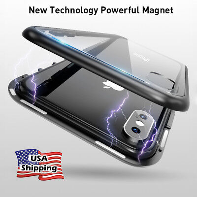 Magnetic Adsorption Clear Case 360° for iPhone X 6 7 8 Plus Tempered Glass Cover