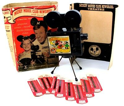 Mickey Mouse Club Newsreel Projector (Mattel), Screen, 9 Film Strips & Box Lot