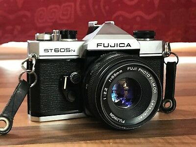Fujica ST 605 N 35mm SLR with 50mm f/2.2 Fujinon lens M42 and carry case.