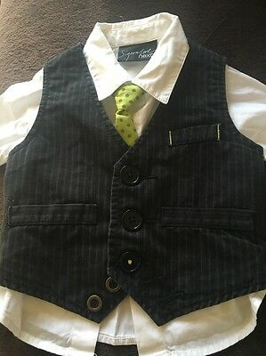 Baby Boys Next Signature Waistcoat, Shirt And Tie Set, 6-9 Months