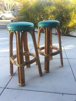 "Rattan Bamboo Wicker Vintage Tiki Bar Stools 30"" Tall"