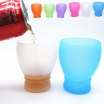 2CC4 Silicone Wine-Drinking Glass Cups Home Bar Glassware Unbreakable Camping