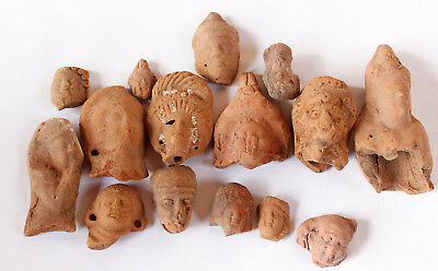 Lot of 15 terracotta Greco Roman Fine heads Egypt 1st century BC- 1st CE
