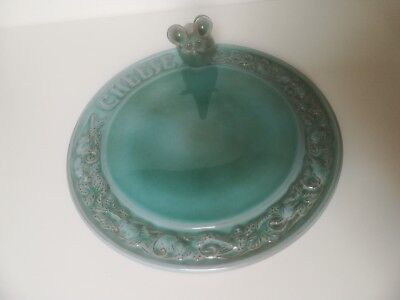 **guernsey Pottery Turquoise Blue Cheese Plate With Mouse**