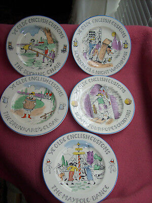 Lot of 5 Very Collectible Old English Customs Vintage Art Deco Antique Plates