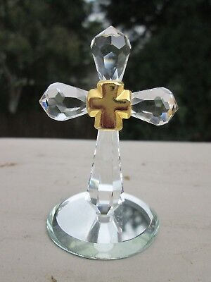 Mini Cut Crystal Cross with Gold Painted Cross Center on Mirrored Base, Figurine