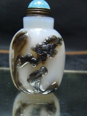 Exquisite Chinese AGATE hand carved snuff bottle    - See Video   7