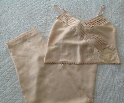 VTG Lily Of France  Rosa Puleo Szule Champagne Lounging Pajamas Size S