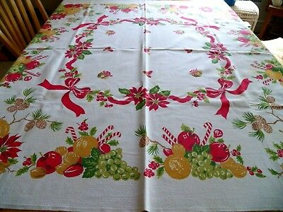 "RARE Vintage 1950's Cotton Xmas & Holiday Tablecloth Great Cond 44"" x 48"""