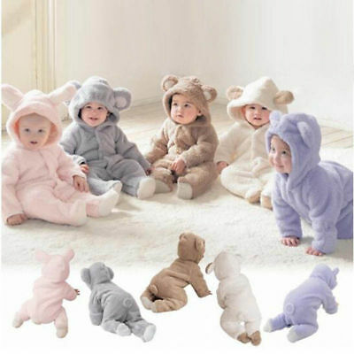Cute Infant Baby Boys Girls Romper Hooded Bear Jumpsuit Bodysuit Clothes Outfits