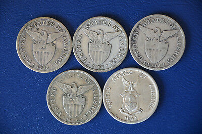 5 Philippine 50 Centavos coins from 1907-1944 & 1907-S Peso -- 6 coins total