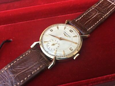 *Rare* NOS Vintage 1952 Longines 22L 14K Solid Gold Fancy Lugs Watch in Full Set