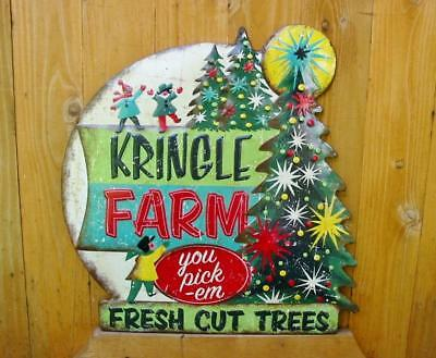 Vintage Style Retro Embossed Tin Christmas Sign Kringle Farm Fresh Cut Trees New