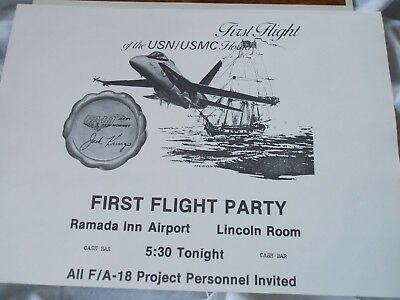 Fa-18 First Flight Party Invitation For The Usn/usmc Hornet