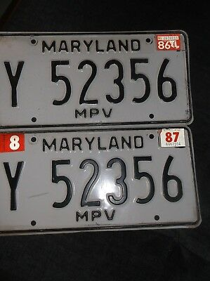 """Antique Maryland """"MPV"""" Pair of License Plates"""