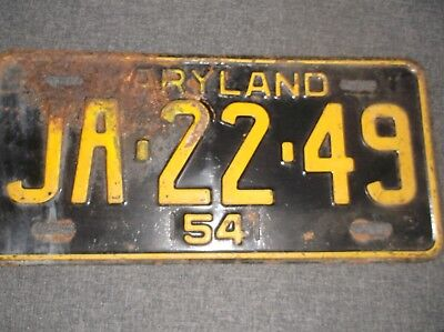 Antique Maryland 1954 License Plate