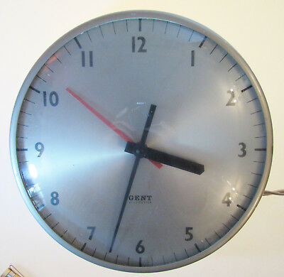 RARE WORKING Vintage Industrial Factory Electric Wall Clock by Gent of Leicester
