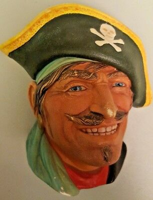 """Vintage Chalkware Head Figurine """"CAPTAIN KIDD"""" By Legend Products"""