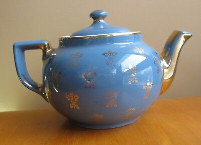 Vintage Hall China 6 Cup BOSTON teapot BLUE Gold Fleur De Lis 018GL