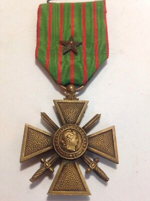 Ww1 French 1914-18 Croix De Guerre Military Medal With 2 Citation Stars!