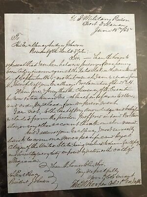 Incredible Confederate Civil War Col. POW Letter To The President!