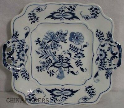 """BLUE DANUBE china Square Pierced Handled Cookie Plate Serving Platter - 10-1/8"""""""