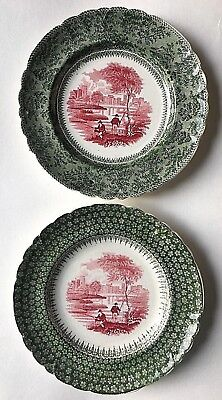 Rare Antique Staffordshire 2 DESSERT PLATES; Red & Green Transferware, c.1830