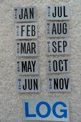 Michigan (10) Month Stickers For License Plates – Plus A Log Sticker – Look