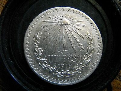 MEX; 1918/7 Mo..Un PESO_ Key date_ First Year(over date) ; XF condition..