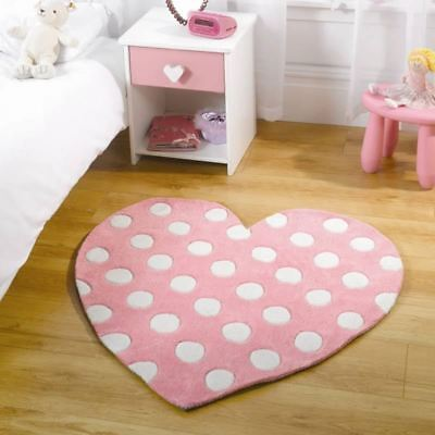 Kiddy Play Polka Heart Pastel Pink 90cm x 90cm Home Floor Rug
