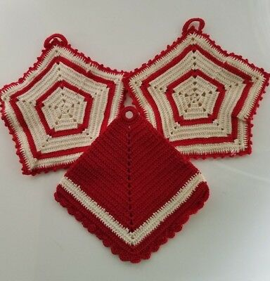 Vintage Red And White Hand Crocheted Pot holders - Hot Pads