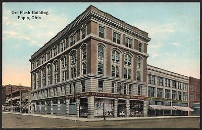 Piqua OH - Orr-Flesh Building F M Kirby 5 and 10 Cent Store antique postcard