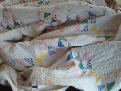 "Vintage Handmade Quilt - Flying Geese - 80"" x 80"" - Soft pastel colors"