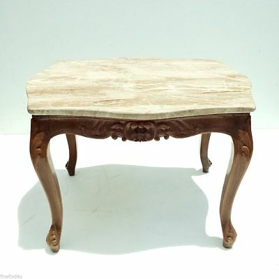 """Marble Top Wood Carved Egyptian Baroque Side End Table  25"""" x 20.5"""" x 17.5"""