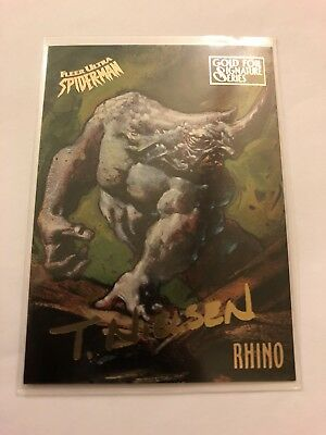 Spider-Man Fleer Ultra 1995 Marvel Card #45 Rhino Gold Foil Signature Series