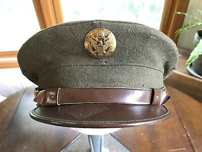 5e197638a2d WWII US ARMY Air Force Enlisted Man Crusher Visor Hat Green Wool Cap ...
