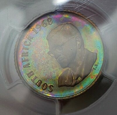 Neon Toned 1968 South Africa 1 Cent | PCGS PR65RB Top Pop