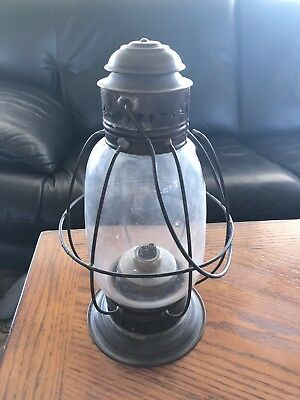 Antique 1900's pierced sheet iron railroad oil lantern with brass