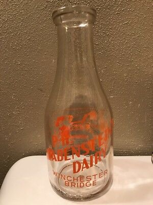 P.H. Grabenstein's Dairy Winchester Bridge Cumberland MD Milk Bottle RARE LAVALE