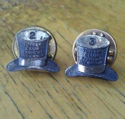 Vintage sterling silver Topper Club pins from Farmers Insurance Group.