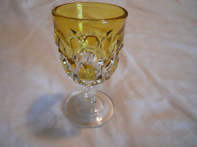 Antique Amber Stain Block Pattern Cordial Eapg Wine Glass