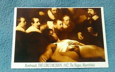 """Gay Male Nude Vintage Postcard.Rembrandt """"THE CIRCUMCISION""""Spoof of the painting"""