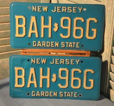 Matched Pair New Jersey License Plates 1980's Garden State BAH 96G Blue